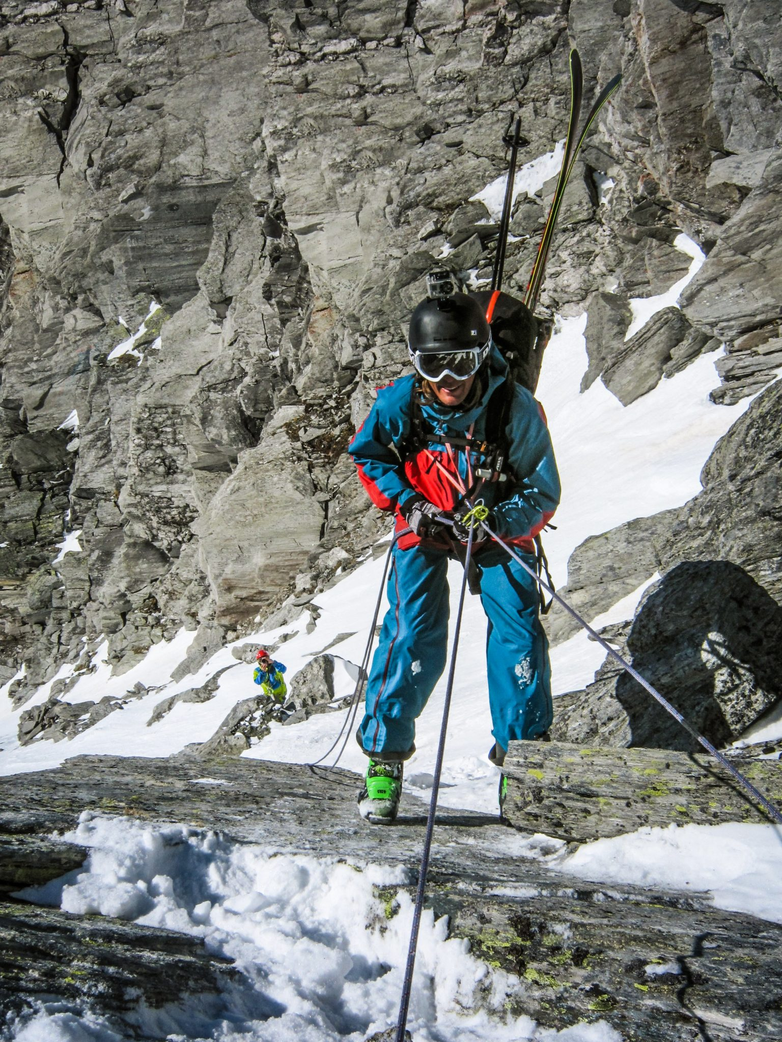 Taneli's first short rappel into the Tuxer Banana couloir using a makeshift harness made of two simple slings.